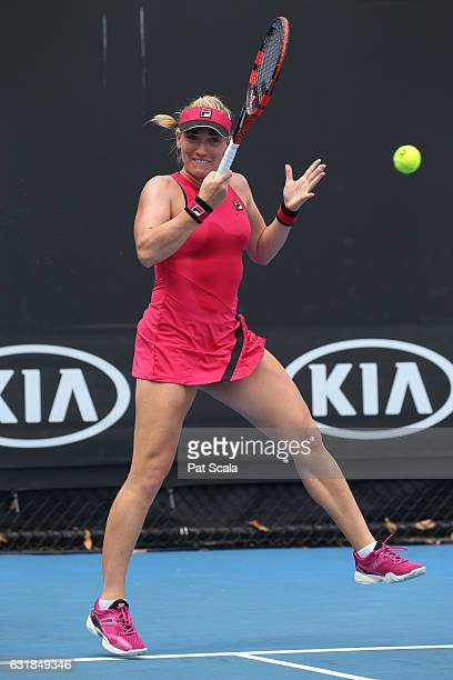 Timea Babos of Hungary plays a forehand in her first round match against Nicole Gibbs of the United States on day two of the 2017 Australian Open at...