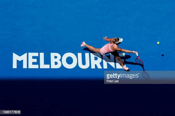 Timea Babos of Hungary plays a forehand in her second round match against Sloane Stephens of the United States during day three of the 2019...