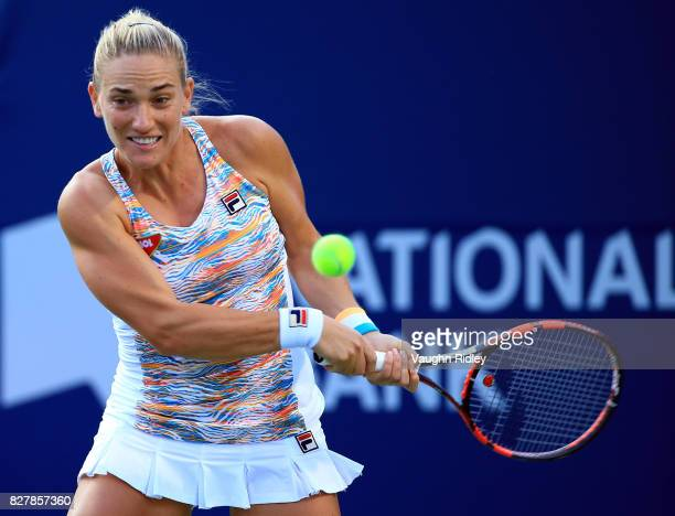 Timea Babos of Hungary plays a shot against Bianca Andreescu of Canada during Day 4 of the Rogers Cup at Aviva Centre on August 8 2017 in Toronto...