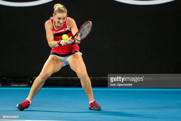Timea Babos of Hungary plays a shot during the 2018 Australian Open on January 15 at Melbourne Park Tennis Centre in Melbourne Australia