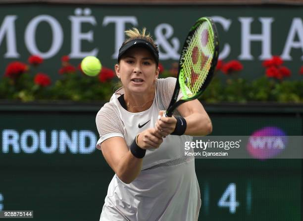 Timea Babos of Hungary react after losing a point against Belinda Bencic of Switzerland during Day 3 of the BNP Paribas Open on March 7 2018 in...