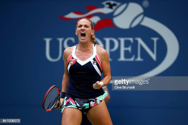 Timea Babos of Hungary reacts against Maria Sharapova of Russia during their second round Women's Singles match on Day Three of the 2017 US Open at...