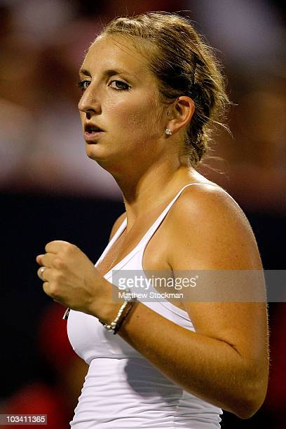 Timea Bacinszky of Switzerland celebrates a point against Alexsandra Wozniak of Canada during the Rogers Cup at Stade Uniprix on August 16 2010 in...