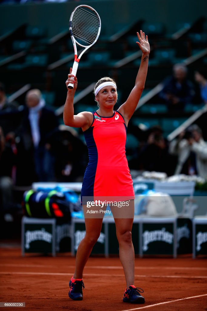 Timea Bacsinszky of Switzerland celebrates victory during ladies singles Quarter Finals match against Kristina Mladenovic of France on day ten of the 2017 French Open at Roland Garros on June 6, 2017 in Paris, France.