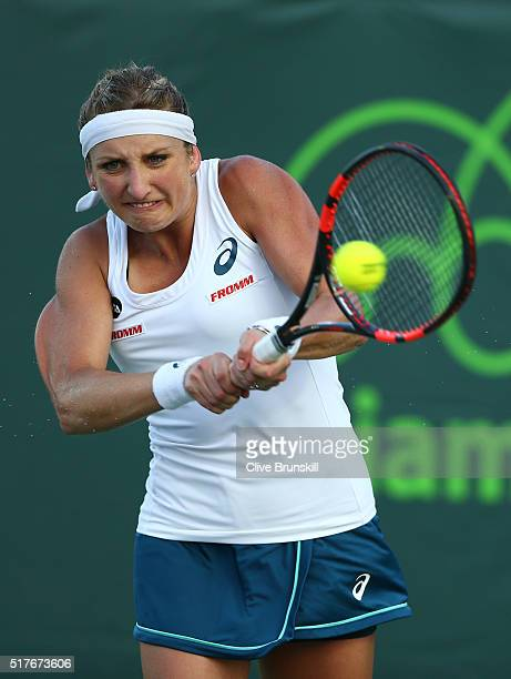 Timea Bacsinszky of Switzerland in action against Ana Ivanovic of Serbia in their third round match during the Miami Open Presented by Itau at...