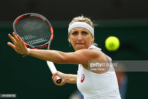 Timea Bacsinszky of Switzerland plays a forehand during the Ladies Singles third round match against Anastasia Pavlyuchenkova of Russia on Middle...