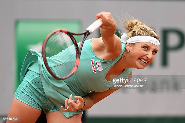 Timea Bacsinszky of Switzerland serves during the Ladies Singles fourth round match against Venus Williams of the United States on day eleven of the...