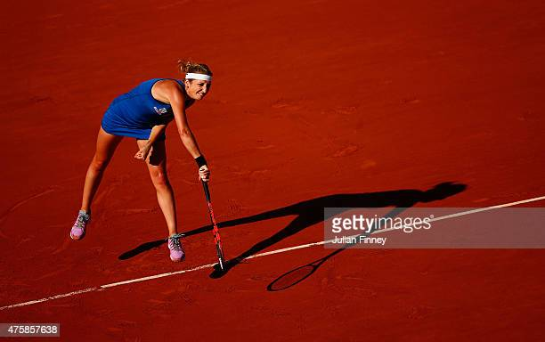 Timea Bacsinszky of Switzerland serves in her Women's Semi final match against Serena Williams of the United States on day twelve of the 2015 French...