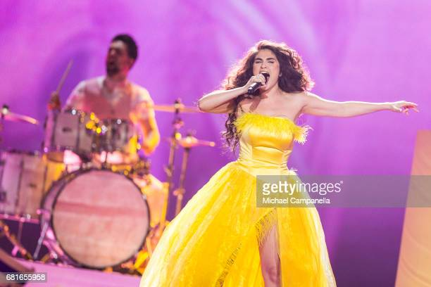 Timebelle representing Switzerland performs the song 'Apollo' during the rehearsal for the second semi final of the 62nd Eurovision Song Contest at...
