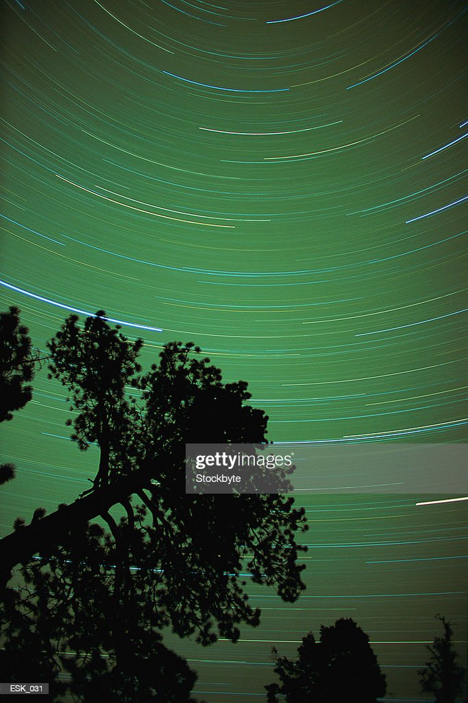 Time-lapse shot of stars in sky : Stock Photo