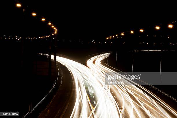 Time-lapse view of traffic at night