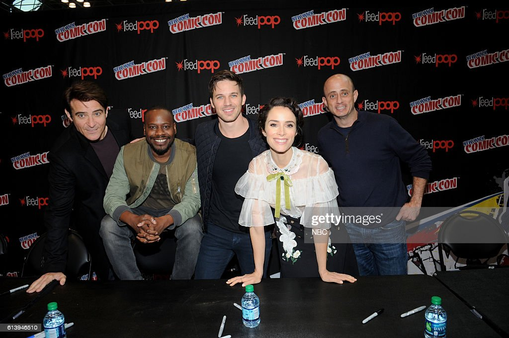 CON 2016 -- 'Timeless' Autographs -- Pictured: (l-r) Goran Visnjic, Malcolm Barrett, Matt Lanter, Abigail Spencer, Executive Producer Eric Kripke on Sunday, October 9, 2016 from the Javits Center in New York, NY --