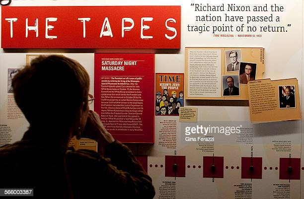 A timeline display from 1973 reveals the Saturday Night Massacre and Time magazine asking for former President Nixon's resignation at new Watergate...