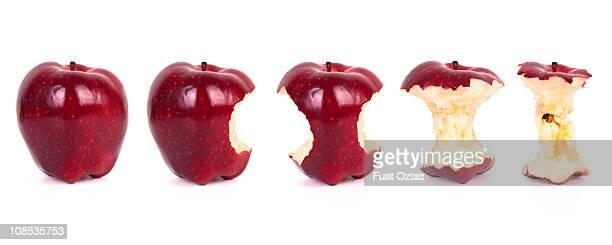timeline of eating an apple (xxxl) - core stock pictures, royalty-free photos & images