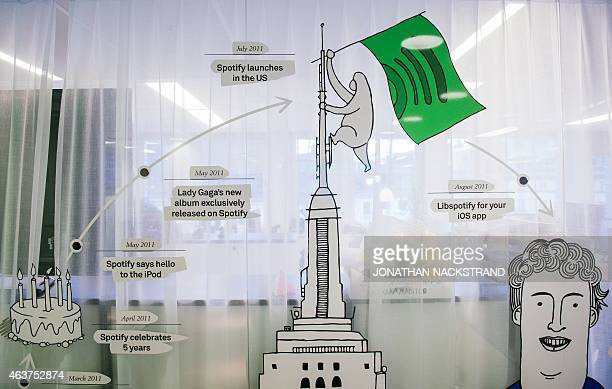 A timeline of Spotify accomplishments is pictured is pictured next to the reception desk of the company headquarters in Stockholm on February 16 2015...