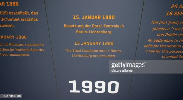 A timeline presents the date of the occupation of the StasiHeadquarter in BerlinLichtenberg as 15 January 1990 being on display at the exhebition...