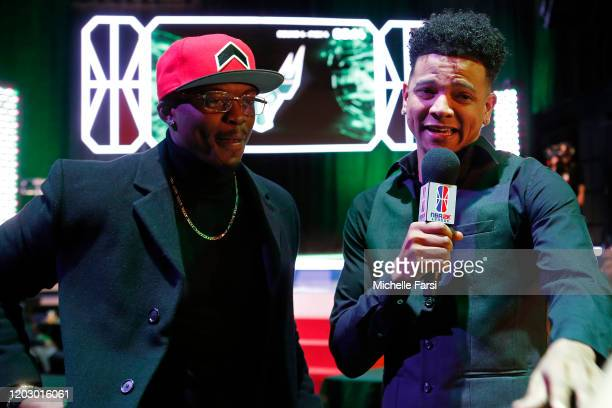 Timelycook talks with BearDaBeast of TWolves Gaming during the NBA 2K League Draft on February 22 2020 at Terminal 5 in New York New York NOTE TO...
