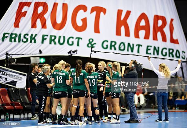 Timeout for Viborg HK during the Super Cup Final between Viborg HK and FC Midtjylland in Gigantium on August 22 2014 in Aalborg Denmark