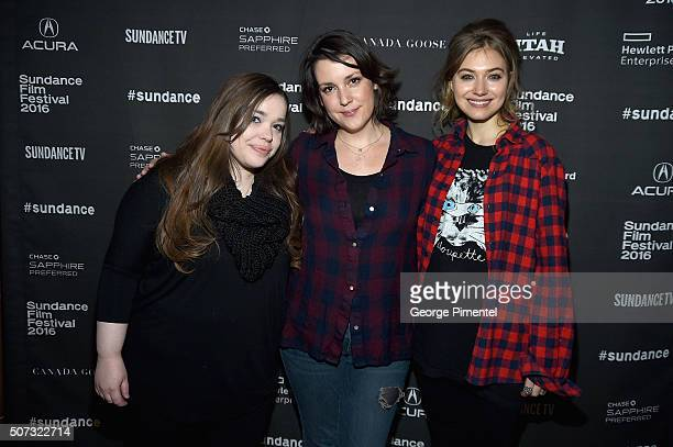 ' LA Times Film writer Amy Kaufman and actresses Melanie Lynskey and Imogen Poots attend the Cinema Cafe during the 2016 Sundance Film Festival at...