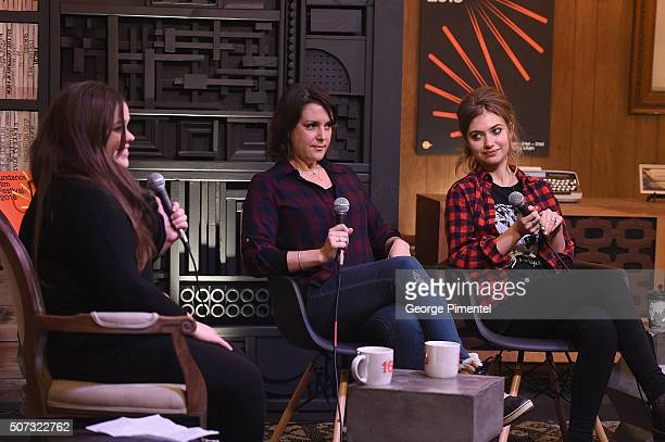 ' LA Times Film writer Amy Kaufman and actresses Melanie Lynskey and Imogen Poots speak onstage at the Cinema Cafe during the 2016 Sundance Film...