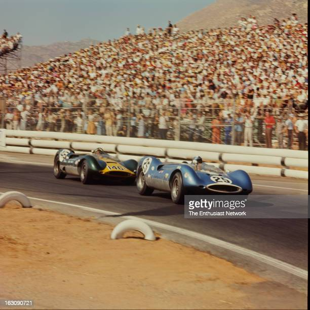 Times Grand Prix Riverside Augie Pabst of John Mecom racing drives his Chevrolet powered Genie Mk10 in front of the Genie Mk8 of Dave Ridenour