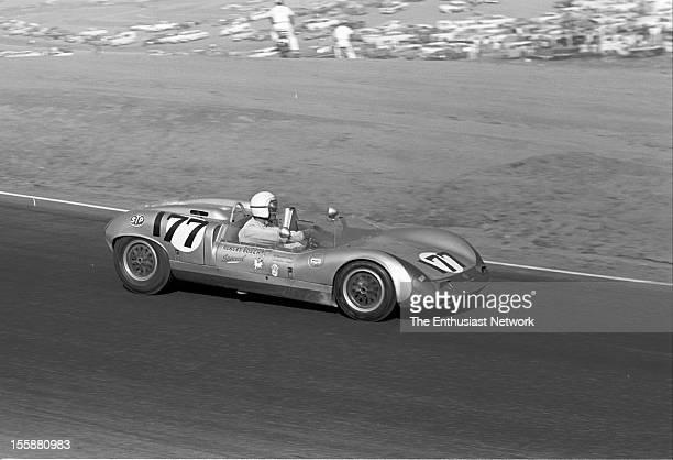 Times Grand Prix Riverside Bill Wuesthoff driving his Porsche powered Elva Mk7