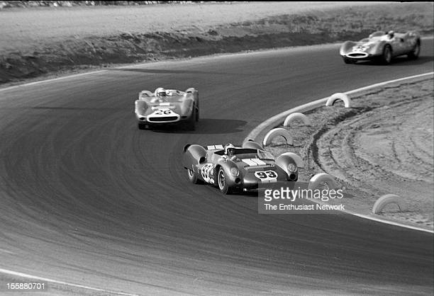 Times Grand Prix Riverside Bob Bondurant driving his Cooper King Cobra to a fifth place finish Behind him Walt Hansgen in Scarab Mk4 does not have as...