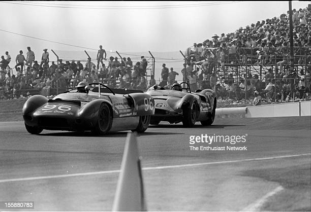 Times Grand Prix Riverside Bobby Unser driving a Chevrolet powered Lotus 19 Monte Carlo Dave Ridenour drives close behind him in his Huffaker Genie...