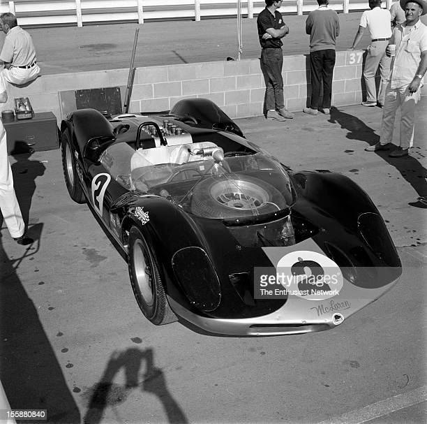 Times Grand Prix Riverside Bruce McLaren's car sit in the pits The McLaren Elva Mk1 is powered by an Oldsmobile V8 McLaren is part of a hand full of...