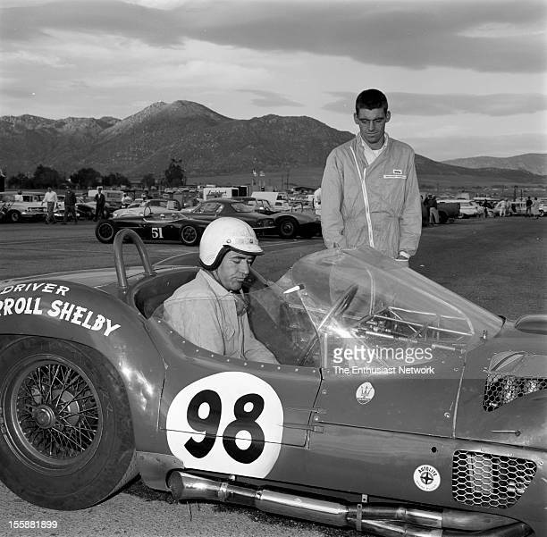 Times Grand Prix Riverside Driver Carroll Shelby sits in his Maserati Tipo 61 Also known as a Birdcage Maserati because of its chassis construction...