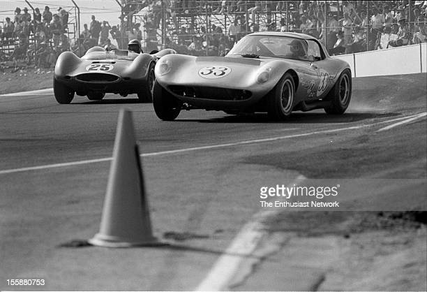 Times Grand Prix Riverside Driver Mike Jones in the Cadillac powered Cheetah races against Augie Pabst in a Huffaker Genie MK10