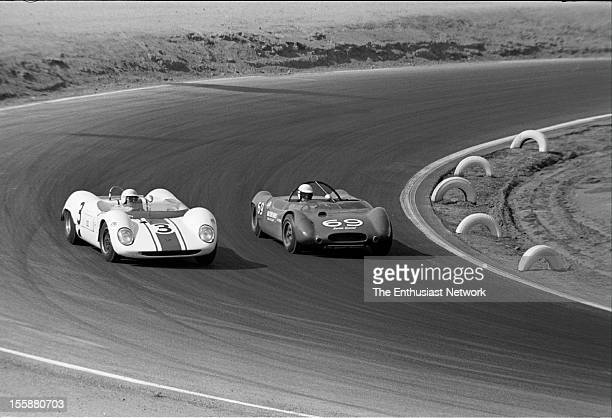 Times Grand Prix Riverside Frank Gardner driving a Brabham BT8 tries to drive on the outside of Al Unser in a Lotus 23