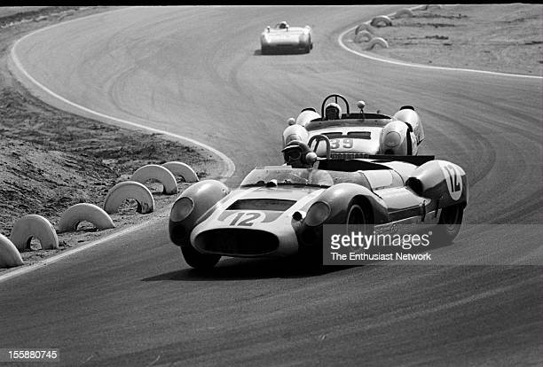 Times Grand Prix Riverside George Wintersteen in his Cooper Monaco T61M drives in front of the Cooper King Cobra of Charles Cox