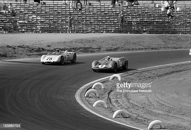 Times Grand Prix Riverside Hugh Dibley in his Brabham BT8 has the inside line against Miles Gupton in a Porsche powered Platypus