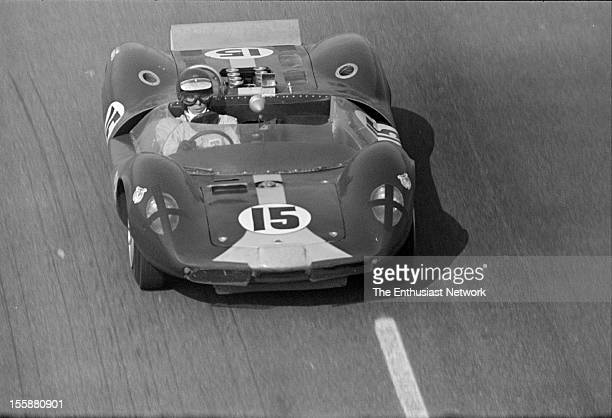 Times Grand Prix Riverside Jim Clark of Team Lotus drives his Ford powered Lotus 30 to a third place finish