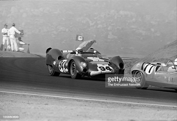 Times Grand Prix Riverside Race winner Parnelli Jones in his Cooper King Cobra drives right behind Bill Wuesthoff in a Porsche powered Elva Mk7