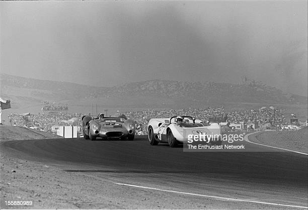 Times Grand Prix Riverside Roger Penske driving a Chaparral 2A leads Bob Bondurant in a Shelby Cooper King Cobra