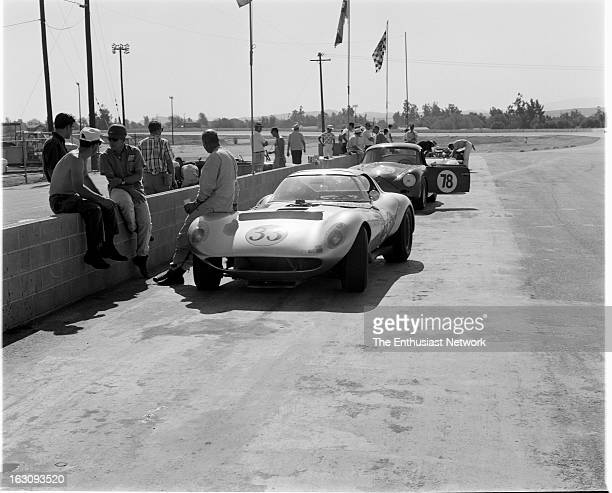 Times Grand Prix Riverside Rolf Picard sits against the Clarence Dixon owned Cadillac Cheetah