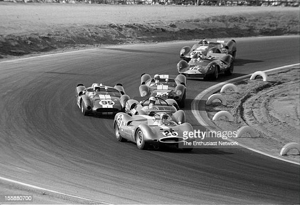 Times Grand Prix Riverside The field is bunched up as they go through the corner Augie Pabst Bobby Unser Ronnie Bucknum Race winner Parnelli Jones...