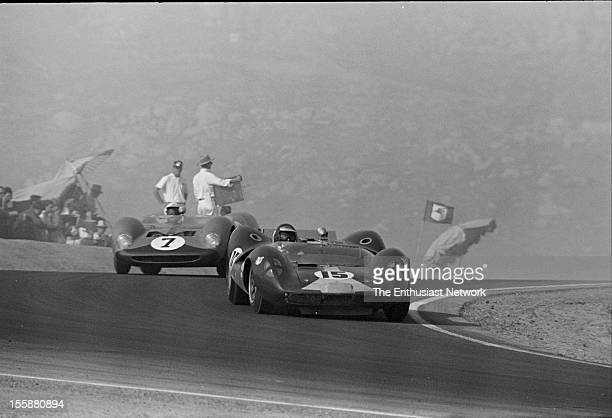 Times Grand Prix Riverside Third place finisher Jim Clark in his Lotus 30 leads Hugh Dibley in a Brabham BT8 Dibley drives for legendary Stirling...