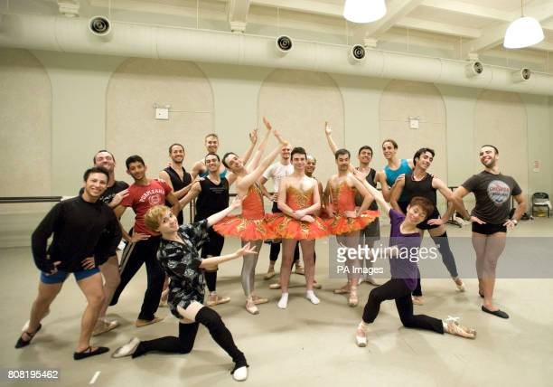 Times of London's Tim Teeman and The Ballets Trockadero de Monte Carlo pictured during Les Ballets Trockadero's rehearsals ahead of their upcoming...