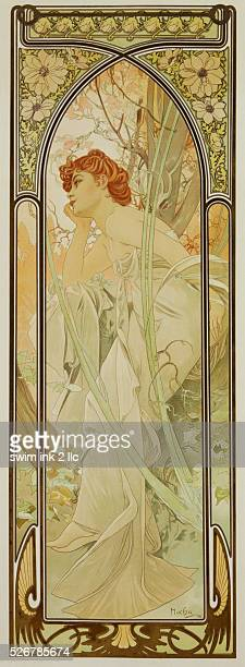 Evening Reverie Poster by Alphonse Mucha