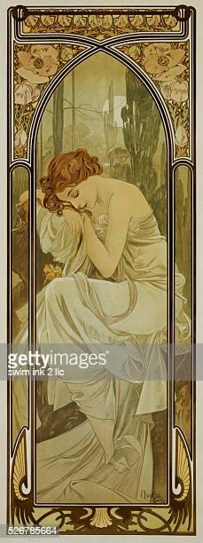Nightly Rest Poster by Alphonse Mucha