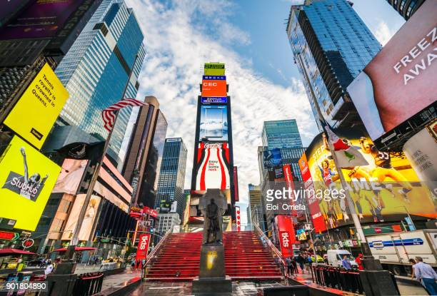 times square 7th av new york manhattan midtown advertising america pedestrians - broadway manhattan stock photos and pictures