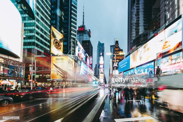 times square at dusk, manhattan, new york - broadway manhattan stock photos and pictures