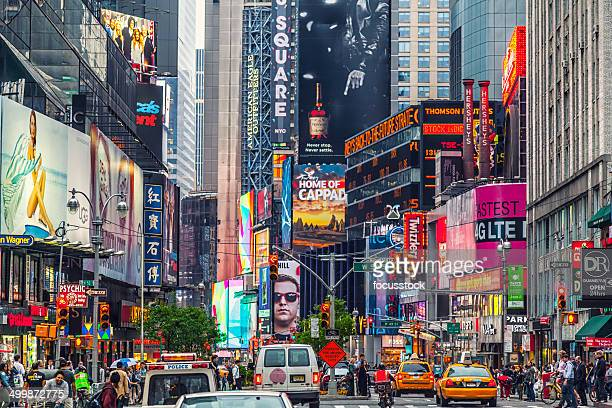 times square billboard on the buildings - broadway manhattan stock photos and pictures