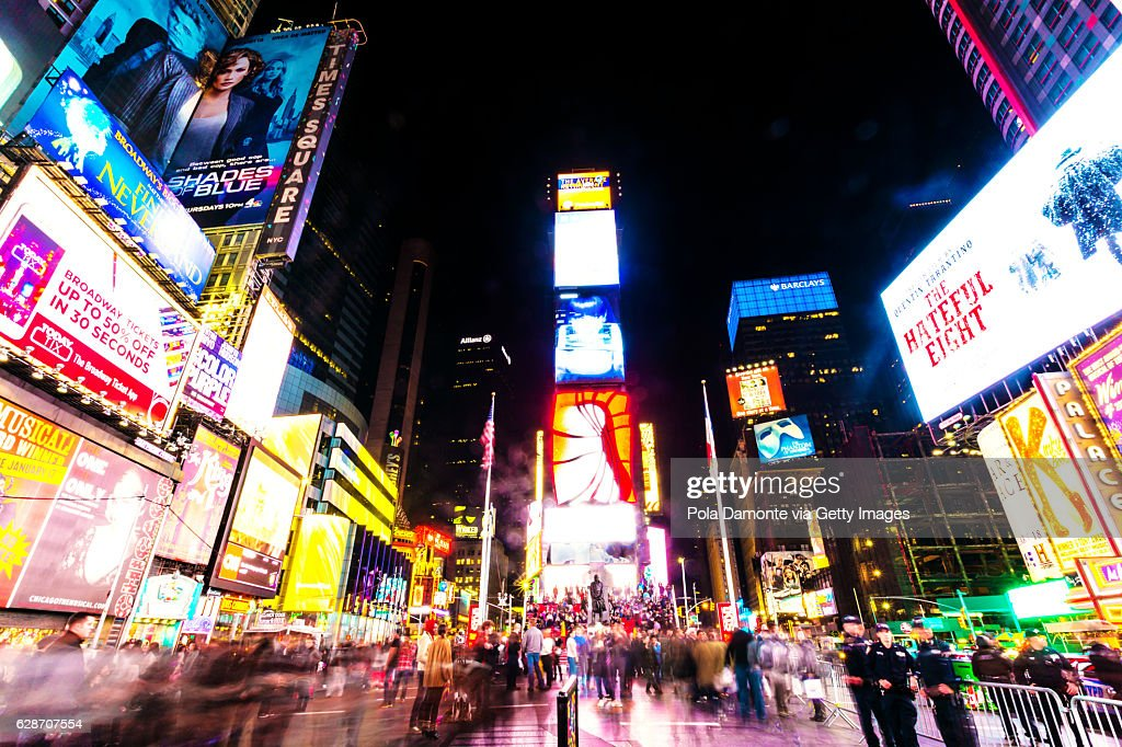 times square countdown midtown manhattan happy new year stock photo