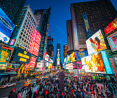Times Square in New York City at dusk