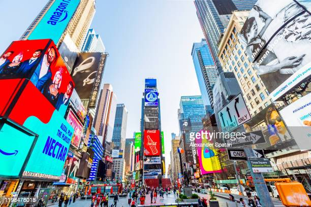 times square in new york city, usa - advertisement stock pictures, royalty-free photos & images
