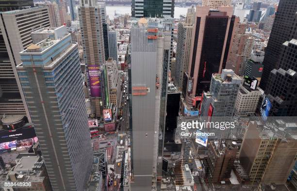 Times Square is seen from the 44th floor of a building on 6th Avenue on December 6 2017 in New York City